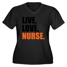 live love nu Women's Plus Size Dark V-Neck T-Shirt