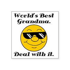 "Worlds Best Grandma Humor Square Sticker 3"" x 3"""