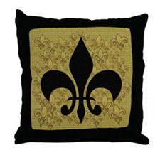 Black Fleur de lis Throw Pillow