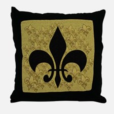Black Fleur de lis Throw Pillow