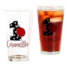 1st Birthday Ladybug - CARMELLA Drinking Glass