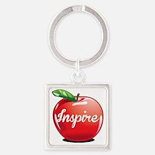 Inspire Apple for Teacher Square Keychain