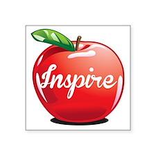 """Inspire Apple for Teacher Square Sticker 3"""" x 3"""""""