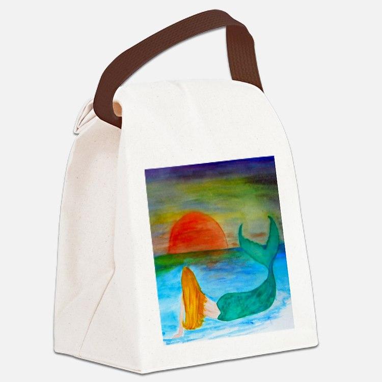 Sunset Mermaid Canvas Lunch Bag