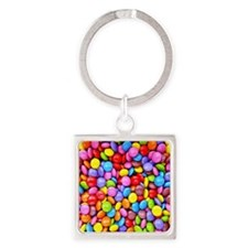 Colorful Candies Square Keychain