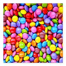 "Colorful Candies Square Car Magnet 3"" x 3"""