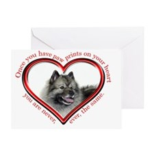 Keeshond Paw Prints Greeting Card
