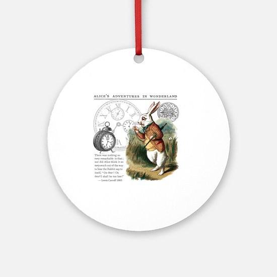 The White Rabbit Alice in Wonderlan Round Ornament