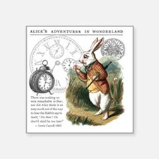 "The White Rabbit Alice in W Square Sticker 3"" x 3"""