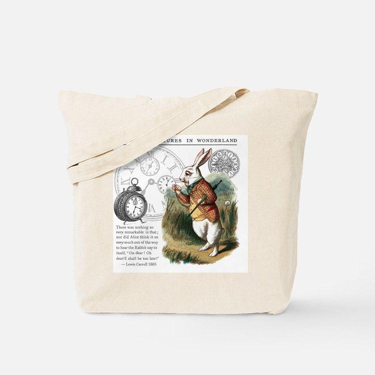 The White Rabbit Alice in Wonderland Tile Tote Bag