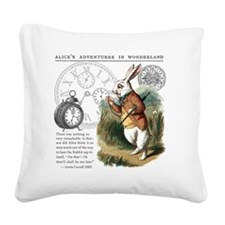 The White Rabbit Alice in Won Square Canvas Pillow