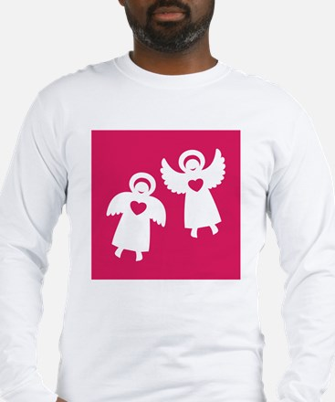 Two angels with hearts on a re Long Sleeve T-Shirt