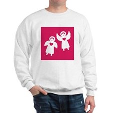 Two angels with hearts on a red backgro Sweatshirt