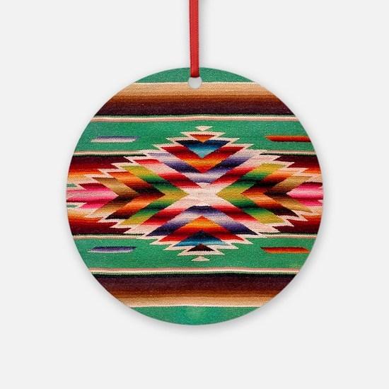 Southwest Weaving Round Ornament