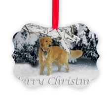 Golden Retriever Merry Christmas Ornament