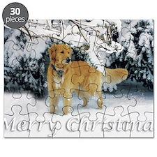 Golden Retriever Merry Christmas Puzzle
