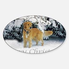 Golden Retriever Merry Christmas Sticker (Oval)