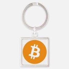 BitCoin - Orange Square Keychain