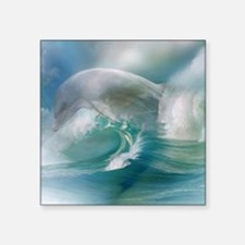 "Dolphin In The Ocean Square Sticker 3"" x 3"""