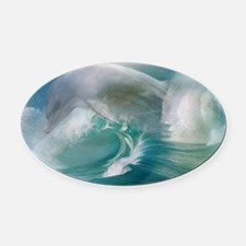 Dolphin In The Ocean Oval Car Magnet