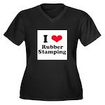 I Love Rubber Stamping Women's Plus Size V-Neck Da