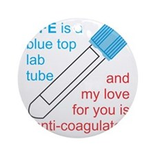 Blue Top Lab Tube Round Ornament