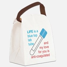 Blue Top Lab Tube Canvas Lunch Bag