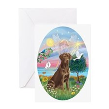 ORN-Oval-CloudAngel-ChocLAB1 Greeting Card