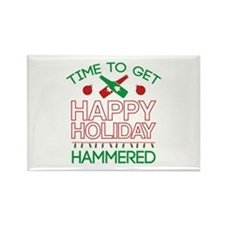 Time To Get Happy Holiday Hammered Rectangle Magne