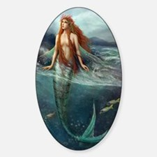 Mermaid of Coral Sea Sticker (Oval)