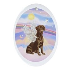 Chocolate Lab Angel Oval Ornament