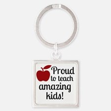 Proud Teacher Square Keychain