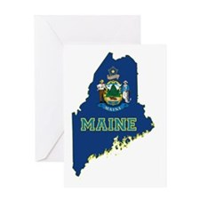 Maine State Flag and Map Greeting Card