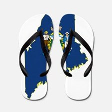 Maine State Flag and Map Flip Flops