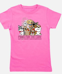 Breast Cancer Paws for the Cure Girl's Tee