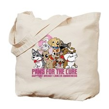 Breast Cancer Paws for the Cure Tote Bag