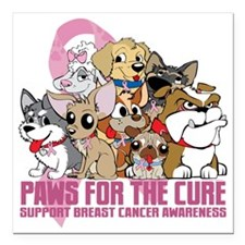 "Breast Cancer Paws for t Square Car Magnet 3"" x 3"""