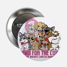 "Breast Cancer Paws for the Cure 2.25"" Button"