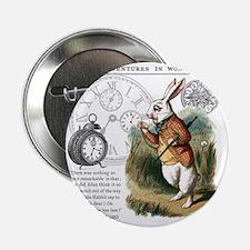 """The White Rabbit Alice in Wonderland  2.25"""" Button"""
