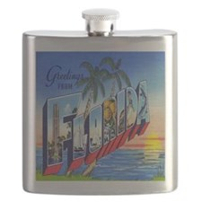 Vintage Greetings from Florida Postcard Flask