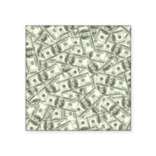 "100 Dollar Bill Money Patte Square Sticker 3"" x 3"""