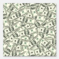 "100 Dollar Bill Money Pa Square Car Magnet 3"" x 3"""