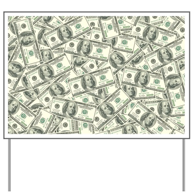 100 dollar bill money pattern yard sign by admincp3269