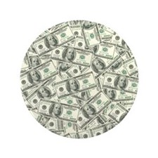 "100 Dollar Bill Money Pattern 3.5"" Button"