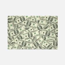 100 Dollar Bill Money Pattern Rectangle Magnet