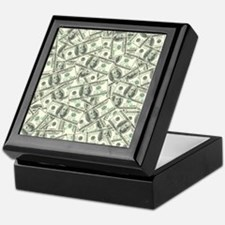 100 Dollar Bill Money Pattern Keepsake Box