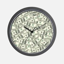100 Dollar Bill Money Pattern Wall Clock