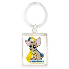 Chihuahuas for Down Syndrome Portrait Keychain