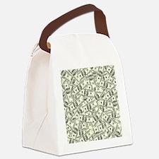 100 Dollar Bill Money Pattern Canvas Lunch Bag