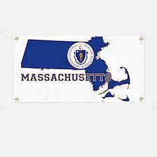 Massachusetts State Flag and Map Banner